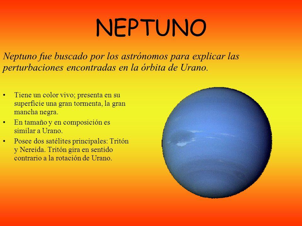 URANO Es un planeta gigante, verde azulado, que presenta anillos débiles. Lo más característico es su inclinación de 98º respecto al plano de su órbit