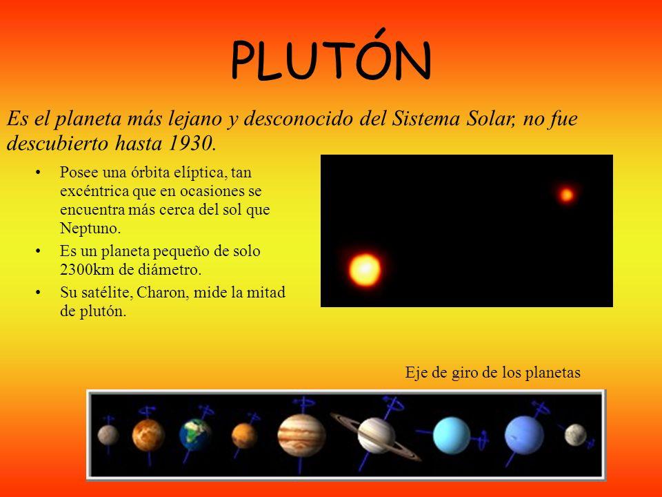 NEPTUNO Tiene un color vivo; presenta en su superficie una gran tormenta, la gran mancha negra. En tamaño y en composición es similar a Urano. Posee d