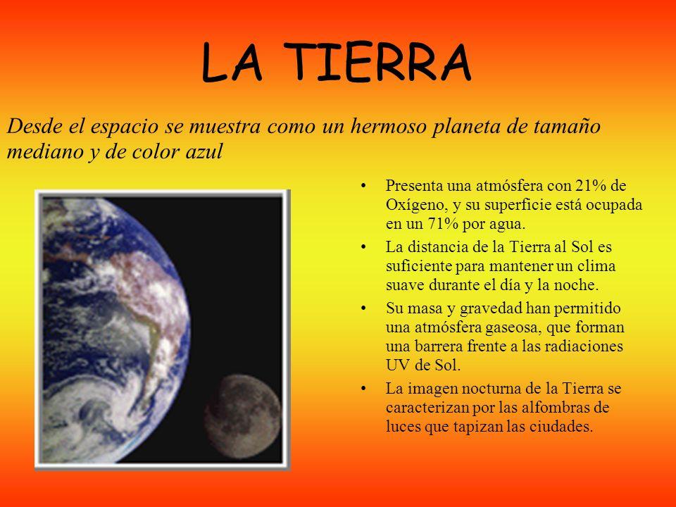 LA TIERRA Presenta una atmósfera con 21% de Oxígeno, y su superficie está ocupada en un 71% por agua.