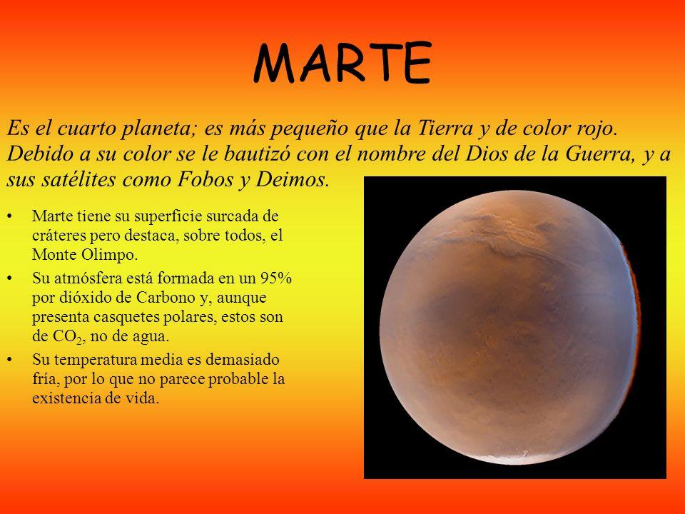MARTE Marte tiene su superficie surcada de cráteres pero destaca, sobre todos, el Monte Olimpo.