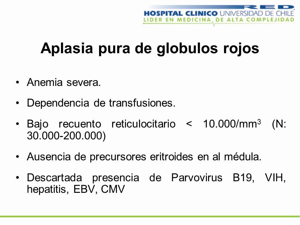 Aplasia pura de globulos rojos Anemia severa. Dependencia de transfusiones. Bajo recuento reticulocitario < 10.000/mm 3 (N: 30.000-200.000) Ausencia d