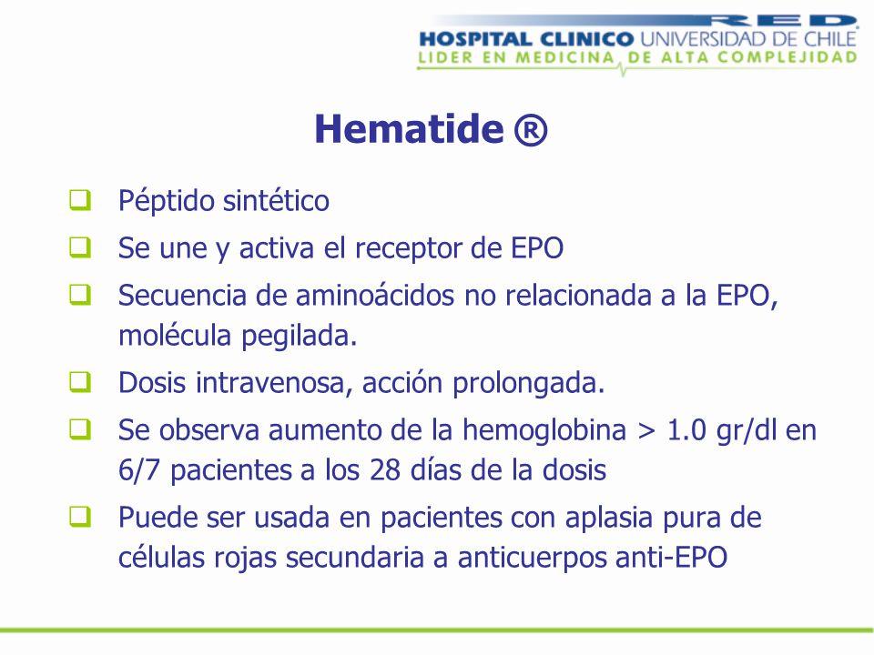 Hematide ® Péptido sintético Se une y activa el receptor de EPO Secuencia de aminoácidos no relacionada a la EPO, molécula pegilada. Dosis intravenosa