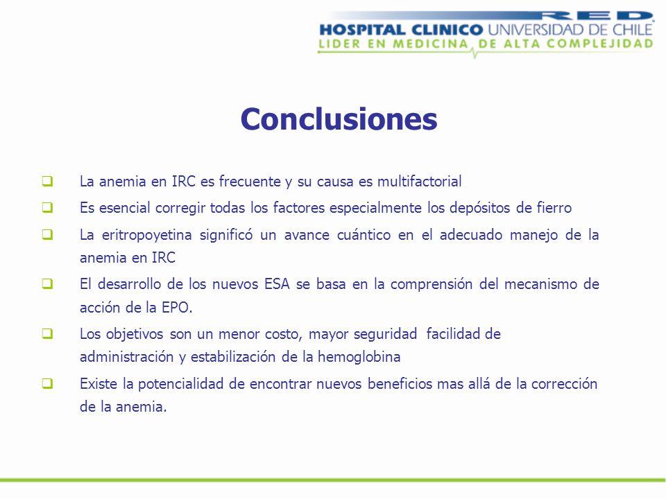 Conclusiones La anemia en IRC es frecuente y su causa es multifactorial Es esencial corregir todas los factores especialmente los depósitos de fierro