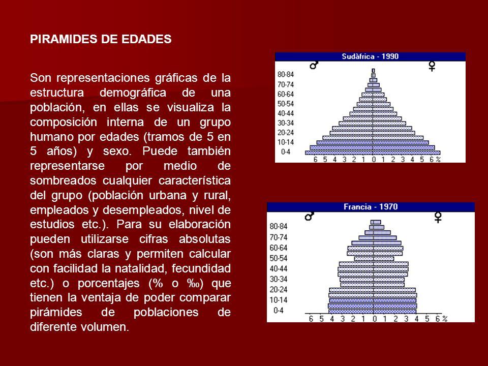 PIRAMIDES DE EDADES Son representaciones gráficas de la estructura demográfica de una población, en ellas se visualiza la composición interna de un gr