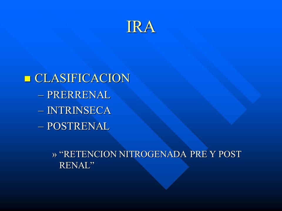 IRA CLASIFICACION CLASIFICACION –PRERRENAL –INTRINSECA –POSTRENAL »RETENCION NITROGENADA PRE Y POST RENAL