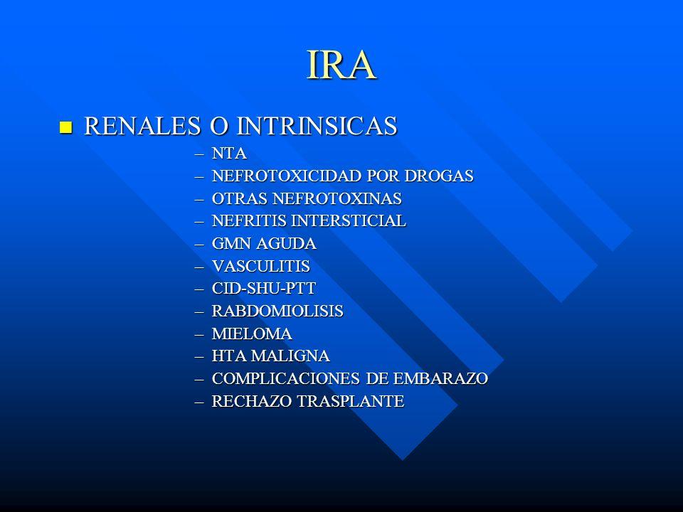 IRA RENALES O INTRINSICAS RENALES O INTRINSICAS –NTA –NEFROTOXICIDAD POR DROGAS –OTRAS NEFROTOXINAS –NEFRITIS INTERSTICIAL –GMN AGUDA –VASCULITIS –CID