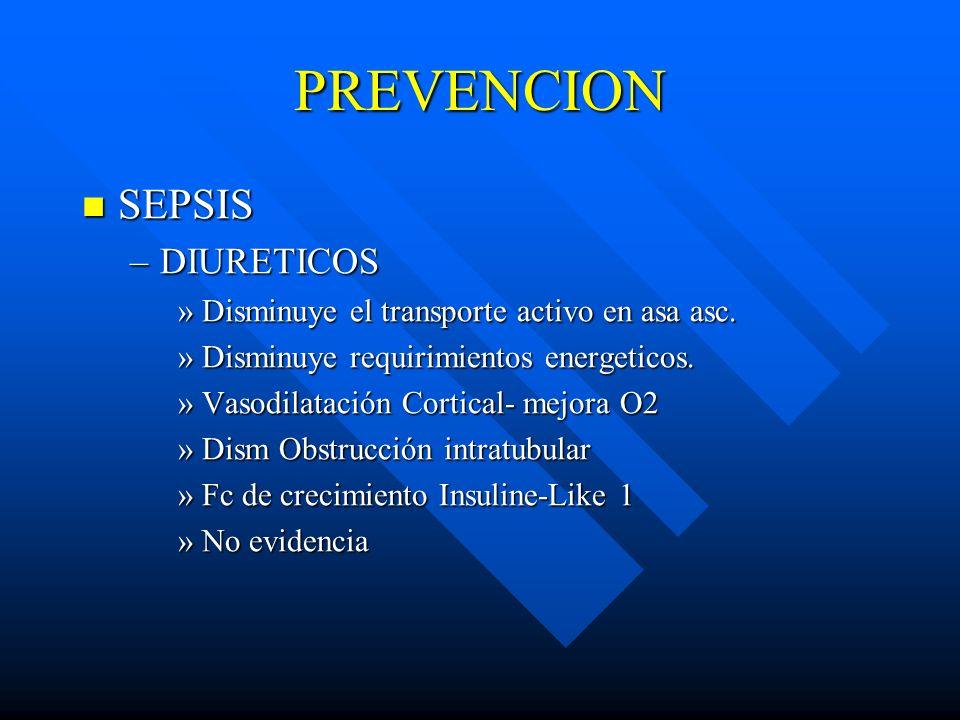 PREVENCION SEPSIS SEPSIS –DIURETICOS »Disminuye el transporte activo en asa asc. »Disminuye requirimientos energeticos. »Vasodilatación Cortical- mejo
