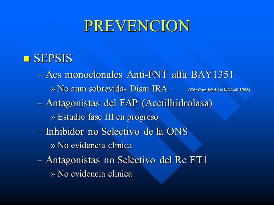 PREVENCION SEPSIS SEPSIS –Acs monoclonales Anti-FNT alfa BAY1351 »No aum sobrevida- Dism IRA (Crit Care Med 24:1431-40,1996) –Antagonistas del FAP (Ac