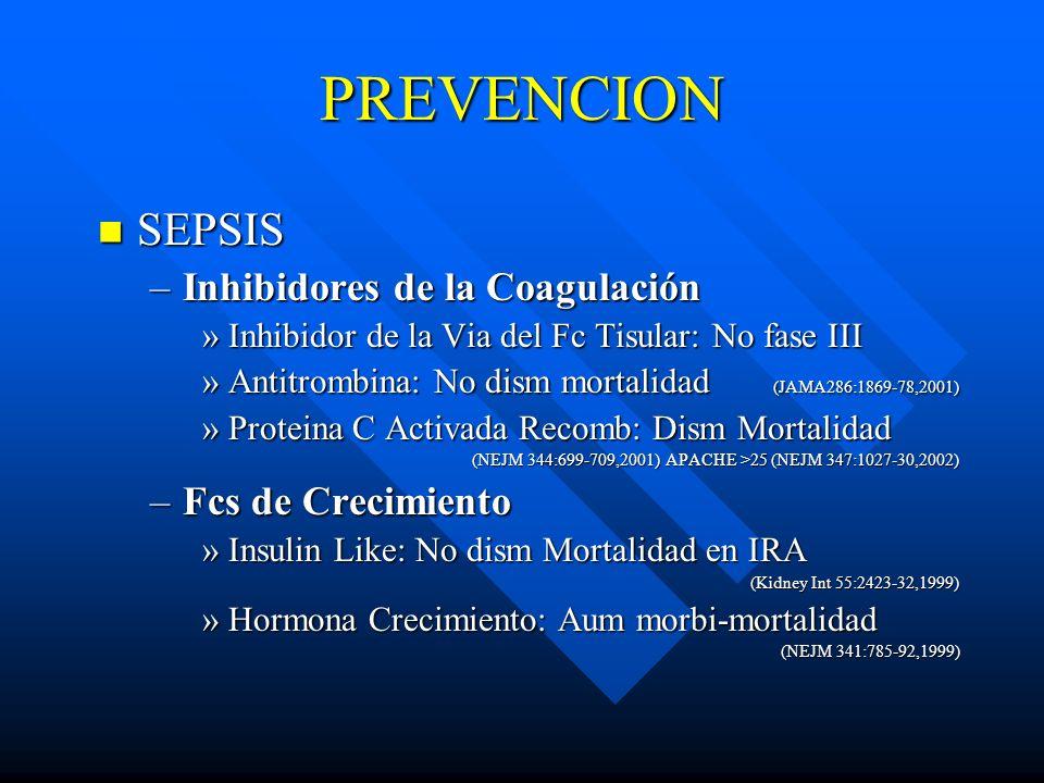 PREVENCION SEPSIS SEPSIS –Inhibidores de la Coagulación »Inhibidor de la Via del Fc Tisular: No fase III »Antitrombina: No dism mortalidad (JAMA286:18