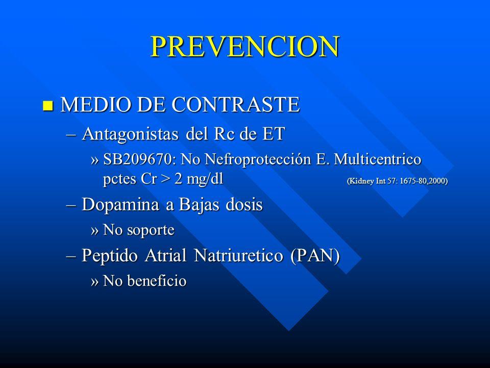 PREVENCION MEDIO DE CONTRASTE MEDIO DE CONTRASTE –Antagonistas del Rc de ET »SB209670: No Nefroprotección E. Multicentrico pctes Cr > 2 mg/dl (Kidney