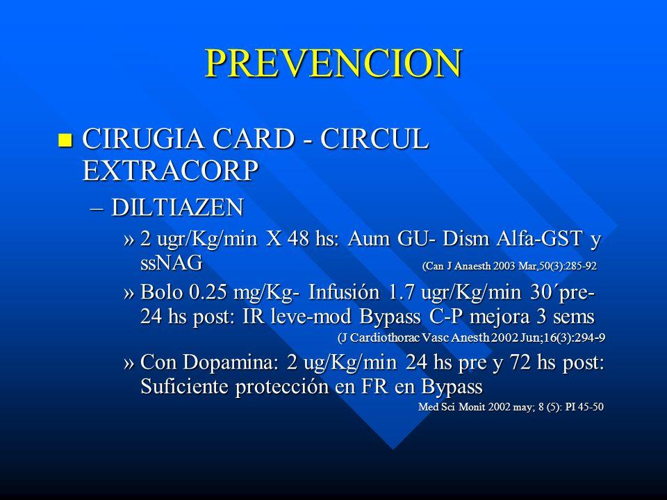 PREVENCION CIRUGIA CARD - CIRCUL EXTRACORP CIRUGIA CARD - CIRCUL EXTRACORP –DILTIAZEN »2 ugr/Kg/min X 48 hs: Aum GU- Dism Alfa-GST y ssNAG (Can J Anae