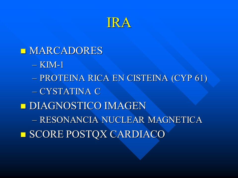 IRA MARCADORES MARCADORES –KIM-1 –PROTEINA RICA EN CISTEINA (CYP 61) –CYSTATINA C DIAGNOSTICO IMAGEN DIAGNOSTICO IMAGEN –RESONANCIA NUCLEAR MAGNETICA
