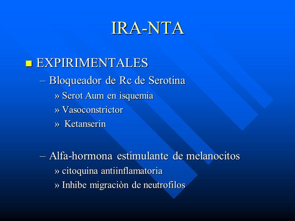 IRA-NTA EXPIRIMENTALES EXPIRIMENTALES –Bloqueador de Rc de Serotina »Serot Aum en isquemia »Vasoconstrictor » Ketanserin –Alfa-hormona estimulante de
