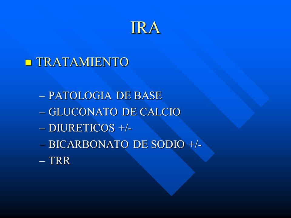 IRA TRATAMIENTO TRATAMIENTO –PATOLOGIA DE BASE –GLUCONATO DE CALCIO –DIURETICOS +/- –BICARBONATO DE SODIO +/- –TRR