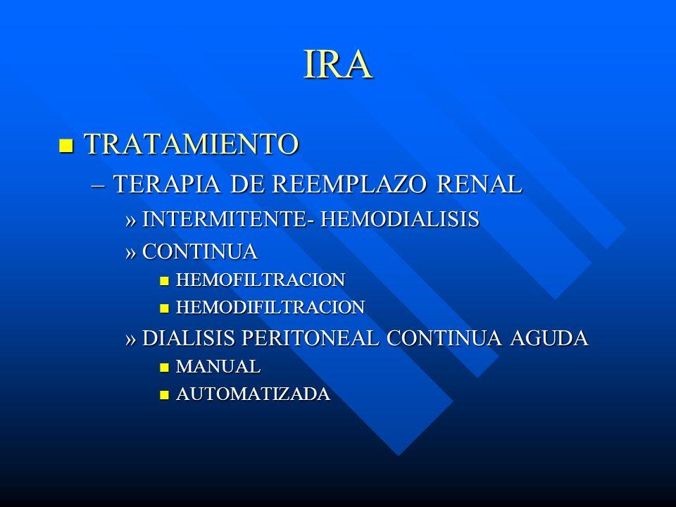 IRA TRATAMIENTO TRATAMIENTO –TERAPIA DE REEMPLAZO RENAL »INTERMITENTE- HEMODIALISIS »CONTINUA HEMOFILTRACION HEMOFILTRACION HEMODIFILTRACION HEMODIFIL