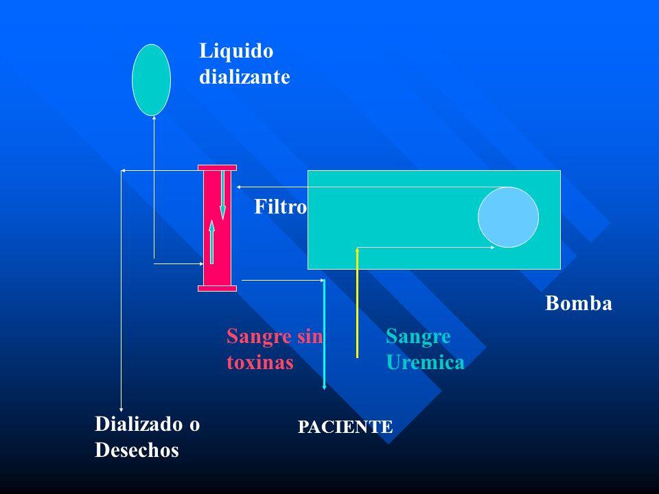 Liquido dializante Filtro Bomba Sangre sin toxinas Sangre Uremica PACIENTE Dializado o Desechos