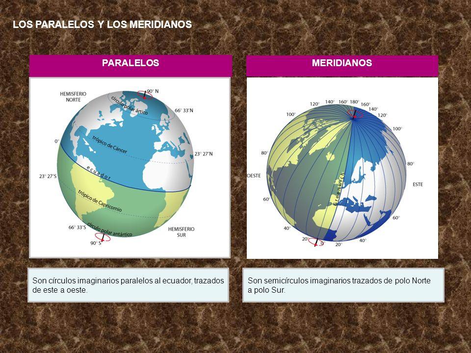 PARALELOS MERIDIANOS Son círculos imaginarios paralelos al ecuador, trazados de este a oeste. Son semicírculos imaginarios trazados de polo Norte a po
