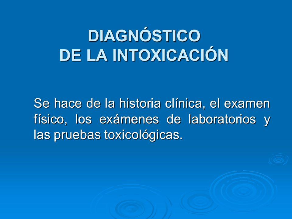 DIAGNÓSTICO DE LA INTOXICACIÓN Se hace de la historia clínica, el examen físico, los exámenes de laboratorios y las pruebas toxicológicas.