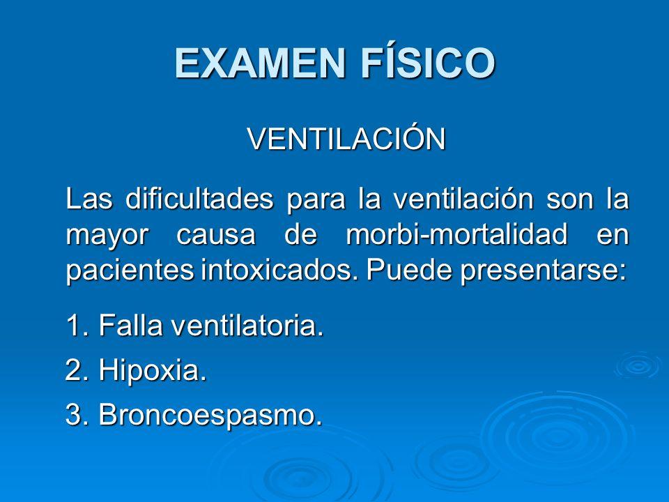 EXAMEN FÍSICO VENTILACIÓN VENTILACIÓN Las dificultades para la ventilación son la mayor causa de morbi-mortalidad en pacientes intoxicados. Puede pres