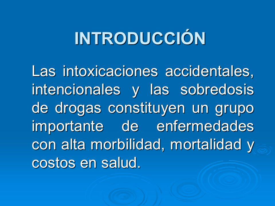 INTRODUCCIÓN Las intoxicaciones accidentales, intencionales y las sobredosis de drogas constituyen un grupo importante de enfermedades con alta morbil