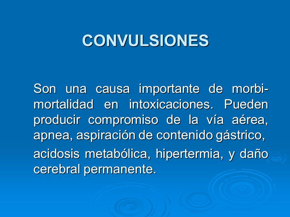 CONVULSIONES Son una causa importante de morbi- mortalidad en intoxicaciones. Pueden producir compromiso de la vía aérea, apnea, aspiración de conteni