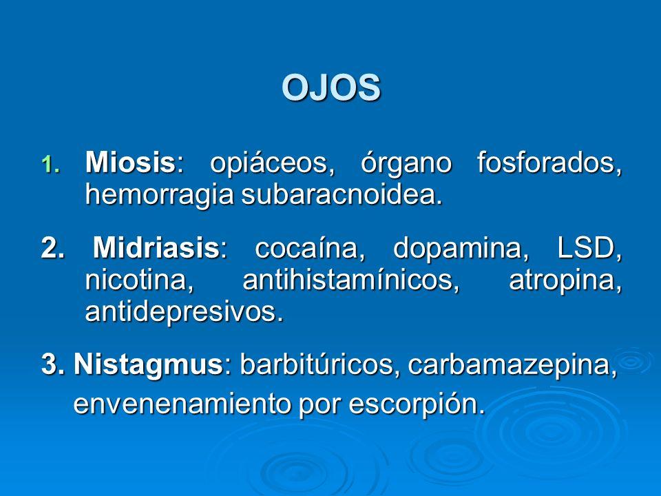 OJOS 1. Miosis: opiáceos, órgano fosforados, hemorragia subaracnoidea. 2. Midriasis: cocaína, dopamina, LSD, nicotina, antihistamínicos, atropina, ant