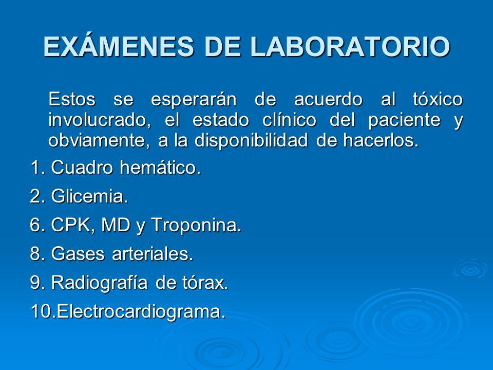 EXÁMENES DE LABORATORIO Estos se esperarán de acuerdo al tóxico involucrado, el estado clínico del paciente y obviamente, a la disponibilidad de hacer