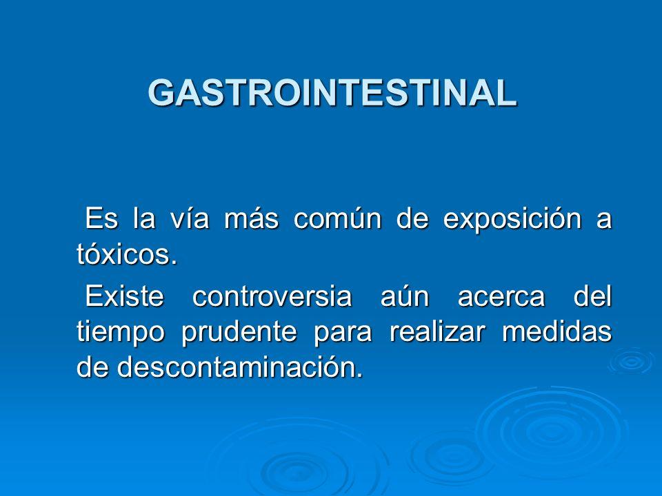 GASTROINTESTINAL Es la vía más común de exposición a tóxicos. Es la vía más común de exposición a tóxicos. Existe controversia aún acerca del tiempo p