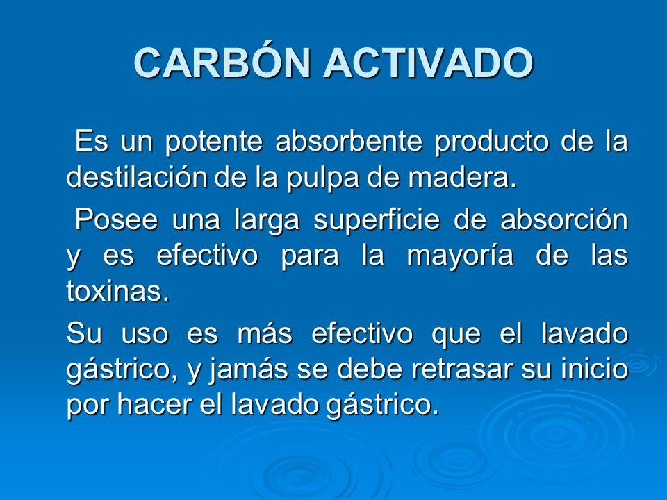 CARBÓN ACTIVADO Es un potente absorbente producto de la destilación de la pulpa de madera. Es un potente absorbente producto de la destilación de la p