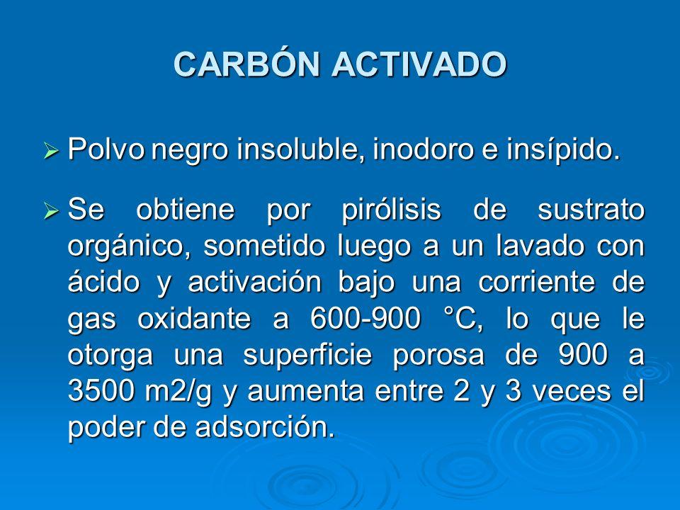 CARBÓN ACTIVADO Polvo negro insoluble, inodoro e insípido. Polvo negro insoluble, inodoro e insípido. Se obtiene por pirólisis de sustrato orgánico, s