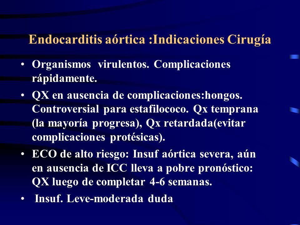 Endocarditis aórtica :Indicaciones Cirugía Organismos virulentos. Complicaciones rápidamente. QX en ausencia de complicaciones:hongos. Controversial p