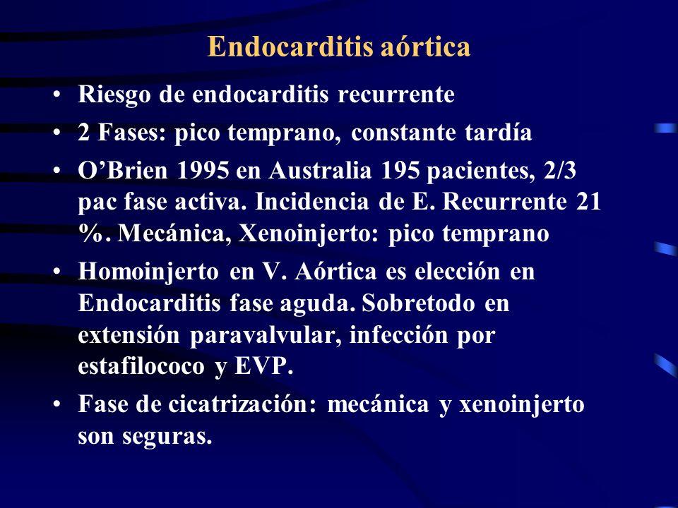 Endocarditis aórtica Riesgo de endocarditis recurrente 2 Fases: pico temprano, constante tardía OBrien 1995 en Australia 195 pacientes, 2/3 pac fase a