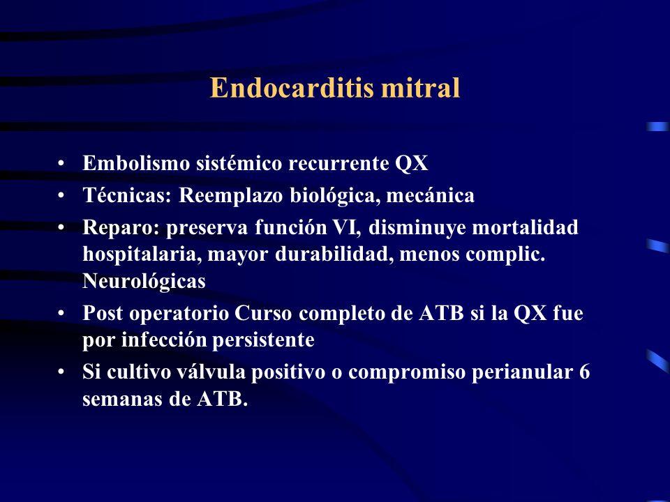 Endocarditis mitral Embolismo sistémico recurrente QX Técnicas: Reemplazo biológica, mecánica Reparo: preserva función VI, disminuye mortalidad hospit