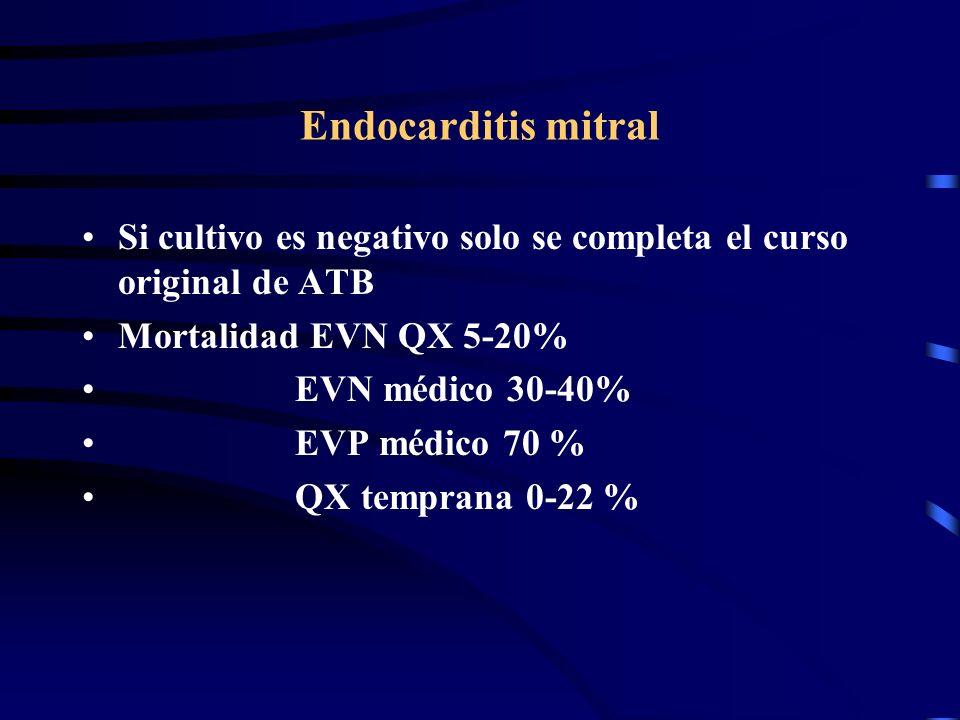 Endocarditis mitral Si cultivo es negativo solo se completa el curso original de ATB Mortalidad EVN QX 5-20% EVN médico 30-40% EVP médico 70 % QX temp