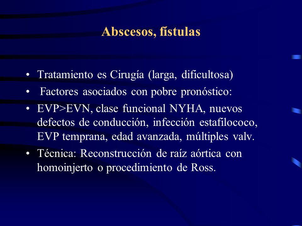 Abscesos, fístulas Tratamiento es Cirugía (larga, dificultosa) Factores asociados con pobre pronóstico: EVP>EVN, clase funcional NYHA, nuevos defectos