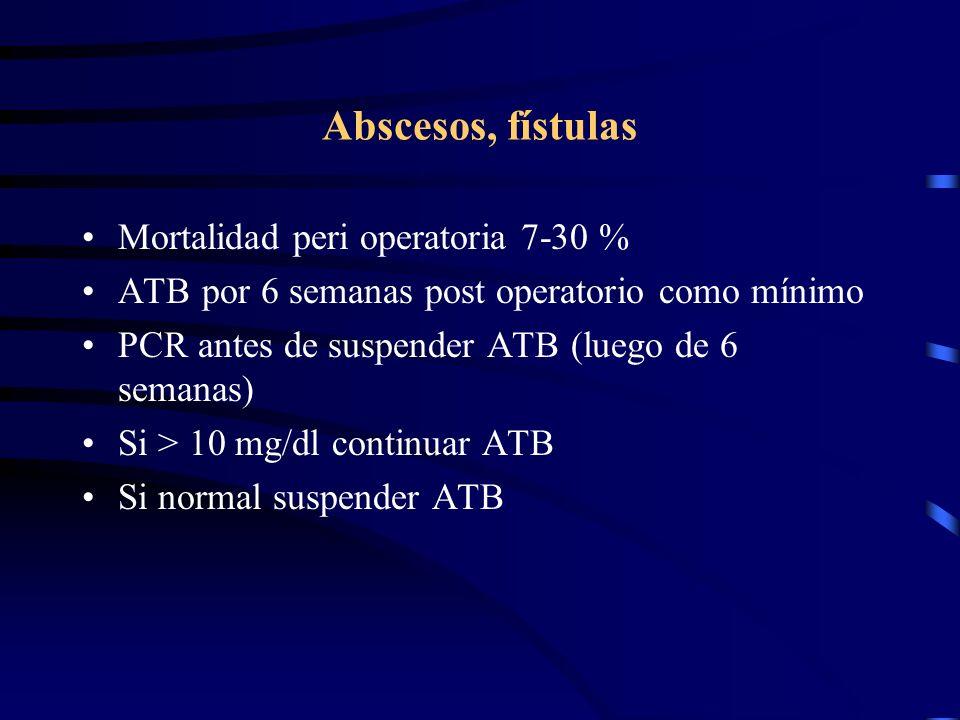 Abscesos, fístulas Mortalidad peri operatoria 7-30 % ATB por 6 semanas post operatorio como mínimo PCR antes de suspender ATB (luego de 6 semanas) Si