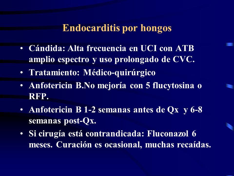 Endocarditis por hongos Cándida: Alta frecuencia en UCI con ATB amplio espectro y uso prolongado de CVC. Tratamiento: Médico-quirúrgico Anfotericin B.