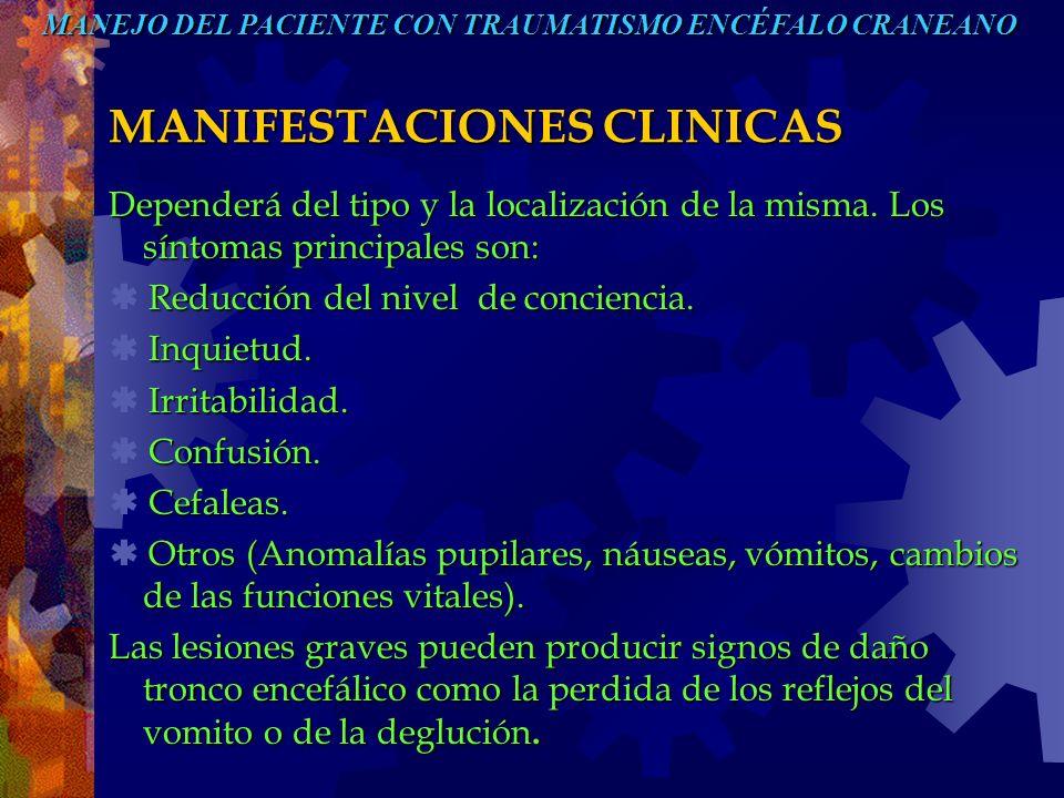 MANIFESTACIONES CLINICAS Dependerá del tipo y la localización de la misma. Los síntomas principales son: Reducción del nivel de conciencia. Reducción