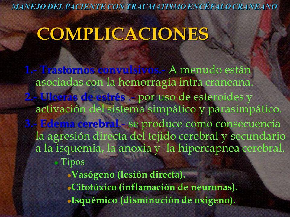 COMPLICACIONES 1.-Trastornos convulsivos.- 1.- Trastornos convulsivos.- A menudo están asociadas con la hemorragia intra craneana. 2.-Ulceras de estré