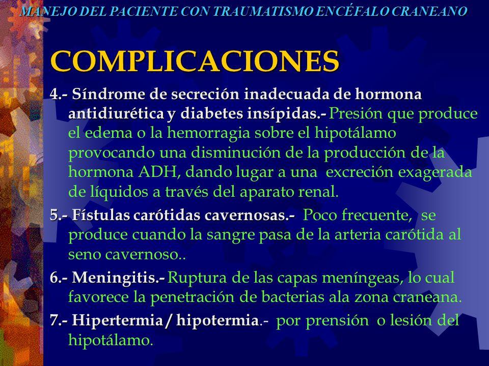 COMPLICACIONES 4.-Síndrome de secreción inadecuada de hormona antidiurética y diabetes insípidas.- 4.- Síndrome de secreción inadecuada de hormona ant