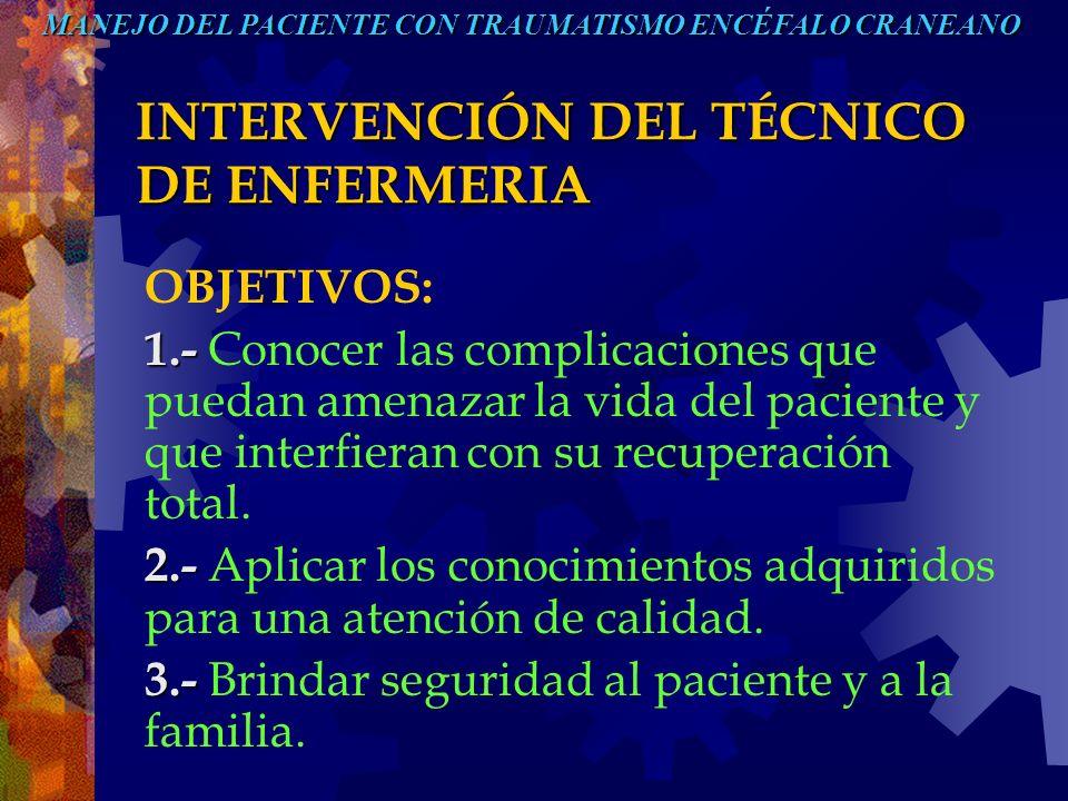 INTERVENCIÓN DEL TÉCNICO DE ENFERMERIA OBJETIVOS: 1.- 1.- Conocer las complicaciones que puedan amenazar la vida del paciente y que interfieran con su