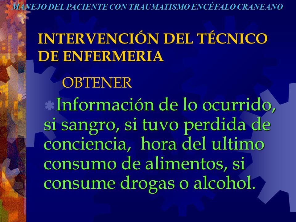 INTERVENCIÓN DEL TÉCNICO DE ENFERMERIA OBTENER Información de lo ocurrido, si sangro, si tuvo perdida de conciencia, hora del ultimo consumo de alimen