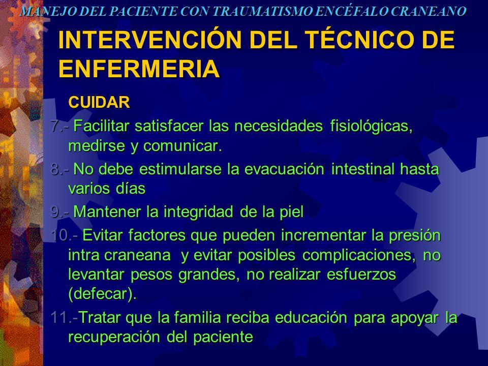 INTERVENCIÓN DEL TÉCNICO DE ENFERMERIA CUIDAR 7.- Facilitar satisfacer las necesidades fisiológicas, medirse y comunicar. 8.- No debe estimularse la e