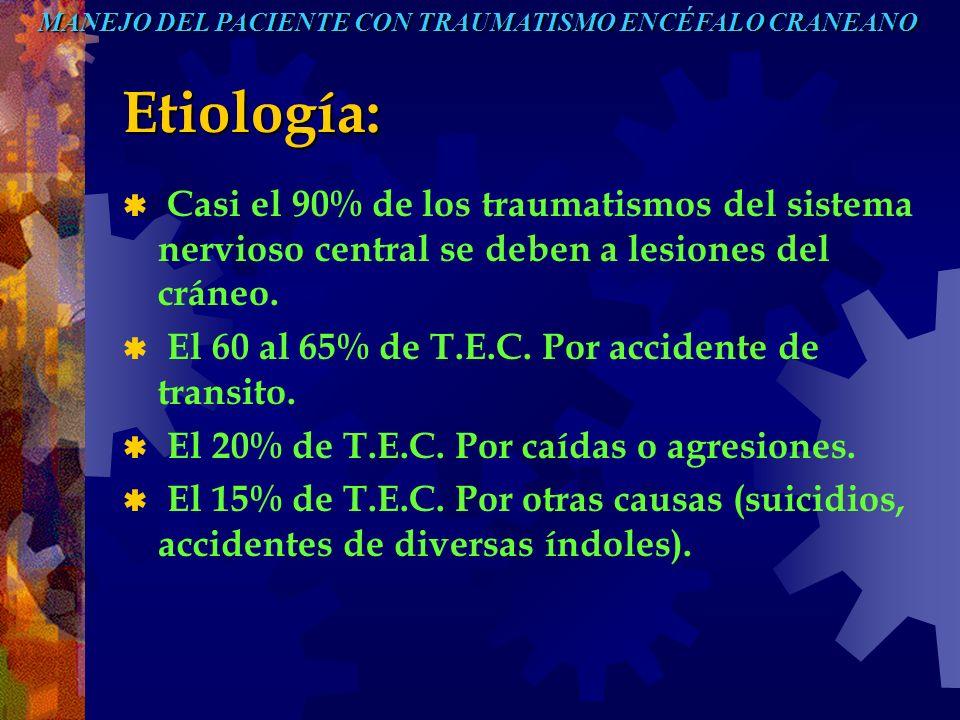 Etiología: Casi el 90% de los traumatismos del sistema nervioso central se deben a lesiones del cráneo. El 60 al 65% de T.E.C. Por accidente de transi