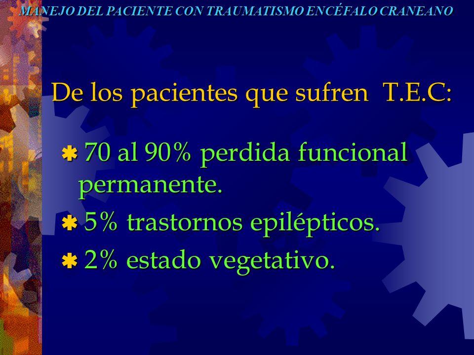 De los pacientes que sufren T.E.C: De los pacientes que sufren T.E.C: 70 al 90% perdida funcional permanente. 70 al 90% perdida funcional permanente.