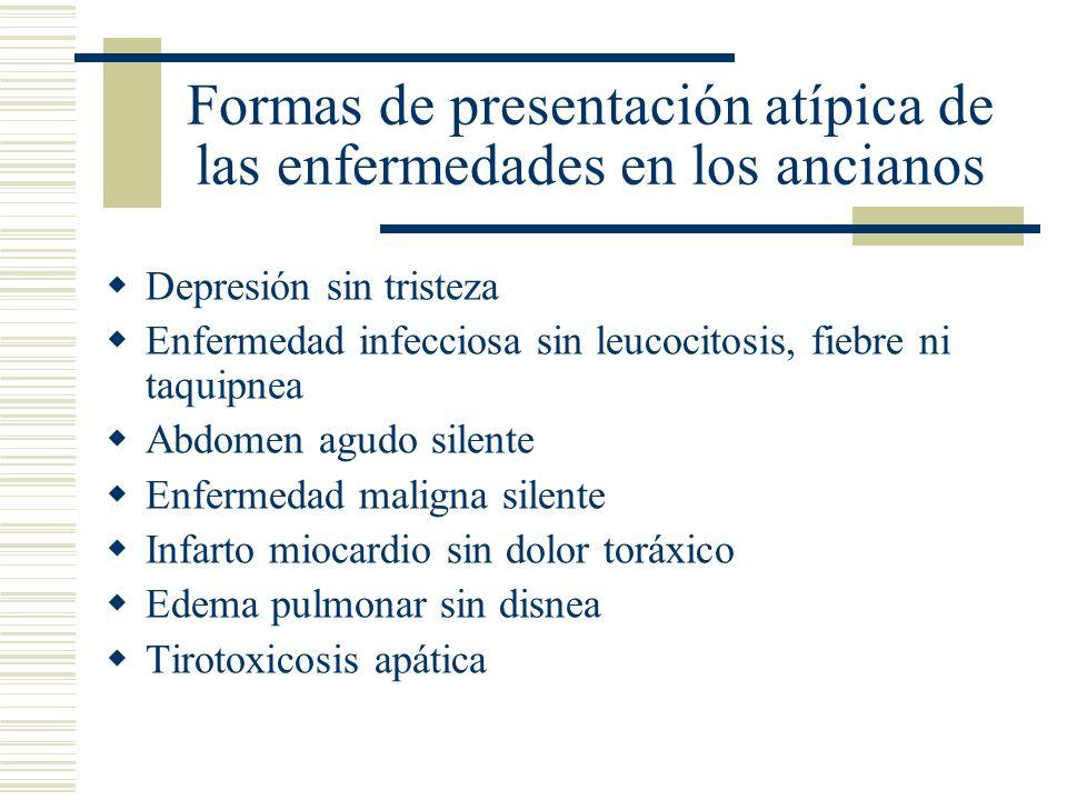 Formas de presentación atípica de las enfermedades en los ancianos Depresión sin tristeza Enfermedad infecciosa sin leucocitosis, fiebre ni taquipnea