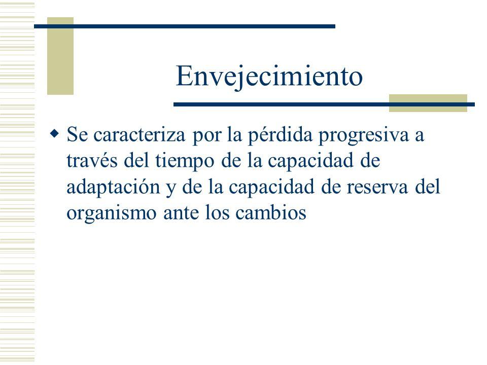 Envejecimiento Se caracteriza por la pérdida progresiva a través del tiempo de la capacidad de adaptación y de la capacidad de reserva del organismo a