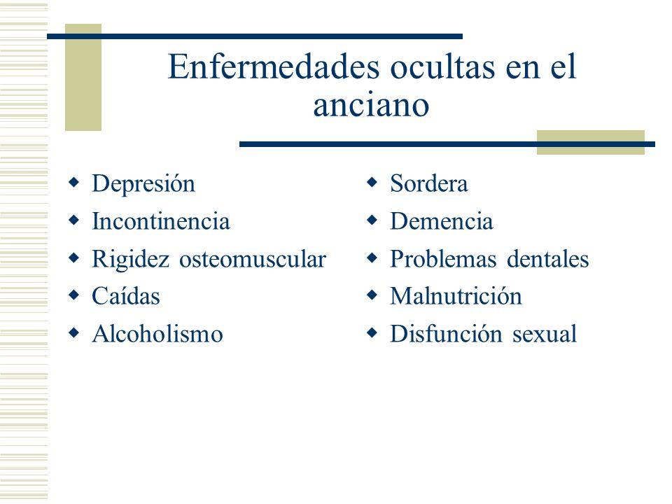 Enfermedades ocultas en el anciano Depresión Incontinencia Rigidez osteomuscular Caídas Alcoholismo Sordera Demencia Problemas dentales Malnutrición D