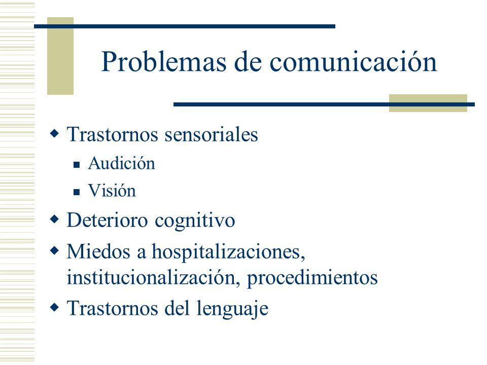 Problemas de comunicación Trastornos sensoriales Audición Visión Deterioro cognitivo Miedos a hospitalizaciones, institucionalización, procedimientos