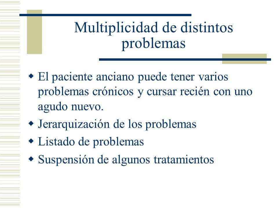 Multiplicidad de distintos problemas El paciente anciano puede tener varios problemas crónicos y cursar recién con uno agudo nuevo. Jerarquización de